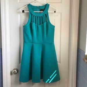 Teal Fit n' Flare Party Dress with Cutouts
